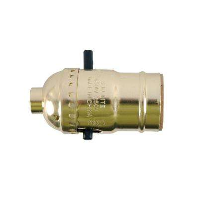 Push On/Off Brass Lamp Socket Housing - Aluminum
