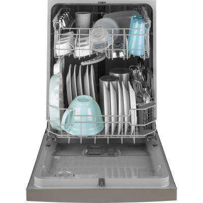 24 in. Front Control Built-In Tall Tub Dishwasher in Slate with Steam Prewash, Fingerprint Resistant, 54 dBA