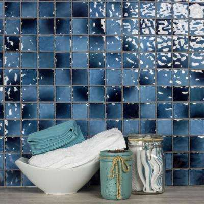 Watermark Caribbean Blue Square Mosaic 2 in. x 2 in. Glossy Glass Mesh Mounted Wall and Pool Tile (0.8 Sq.Ft)