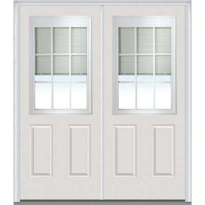 72 in. x 80 in. Internal Blinds and Grilles Left-Hand 1/2 Lite 2-Panel Classic Painted Steel Prehung Front Door