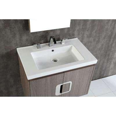 Torrey 30 in. W x 19 in. D x 22 in. H Single Vanity in Gray Brown Oak with Ceramic Vanity Top in White with White Basin