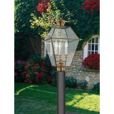 3-Light Outdoor Antique Brass Post Head with Clear Beveled Glass