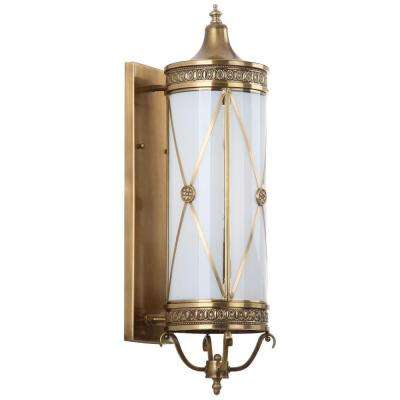 Darby 3-Light Brass Sconce with Off-White Shade