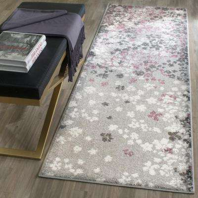 Adirondack Light Gray/Purple 3 ft. x 10 ft. Runner Rug