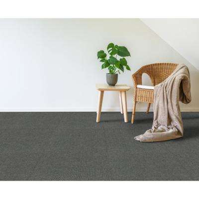 Peel and Stick Ribbed Gunmetal Texture 18 in. x 18 in. Residential Carpet Tile (16 Tiles/36 sq. ft./Case)