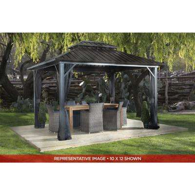 12 ft. D x 12 ft. W Genova II Double-Roof Aluminum Gazebo with Galvanized Steel Roof Panels and Mosquito Netting