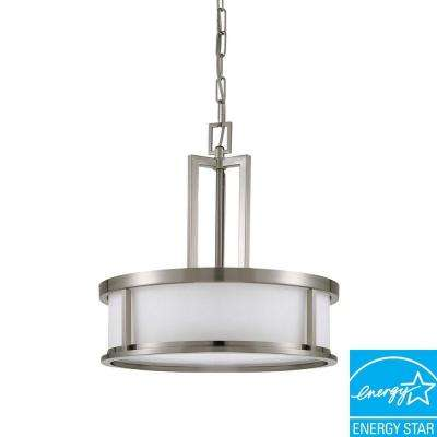 4-Light Brushed Nickel Fluorescent Ceiling Pendant