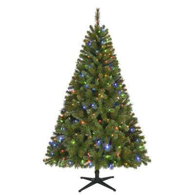 6.5 ft. Pre-Lit LED Wesley Spruce Artificial Christmas Tree with 300 Color Changing Lights