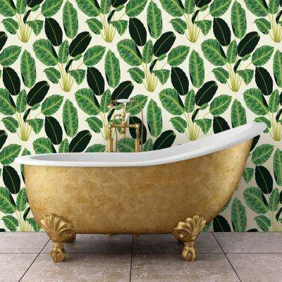 Hojas Cubanas Rich Emerald Self-Adhesive, Removable Wallpaper by Genevieve Gorder