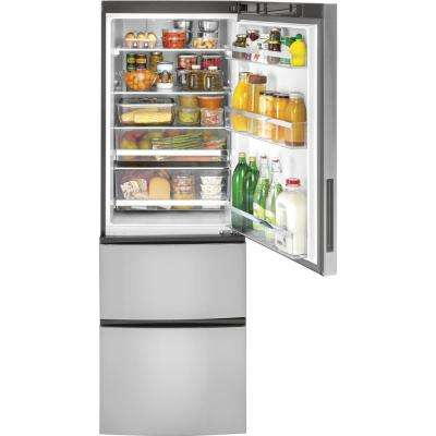 24 in. W 11.9 cu. ft. Bottom-Freezer Refrigerator in Stainless Steel