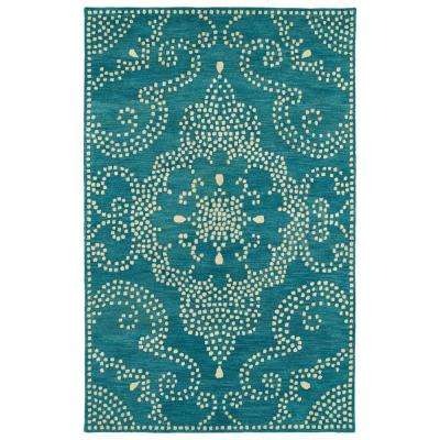 Art Tiles Teal 9 ft. 6 in. x 13 ft. Area Rug