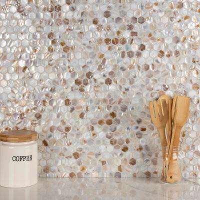 Conchella Hexagon Natural 11-1/2 in. x 11-5/8 in. x 2 mm Natural Seashell Mosaic Tile