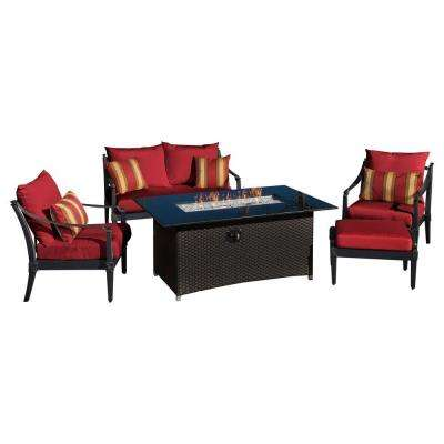 Astoria 5-Piece Love and Club Patio Fire Pit Seating Set with Cantina Red Cushions