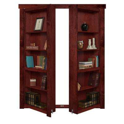 48 in. x 80 in. Flush Mount Assembled Maple Cherry Stained Out-Swing Solid Core Interior French Bookcase Door