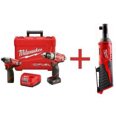 M12 FUEL 12-Volt Lithium-Ion Brushless Cordless 1/2 in. Drill/Impact Combo Kit with Free M12 3/8 in. Ratchet (Tool Only)