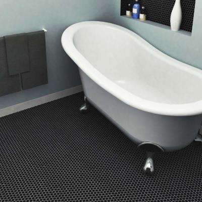 Metro Penny Matte Satin Black 9-3/4 in. x 11-1/2 in. x 6 mm Porcelain Mosaic Tile