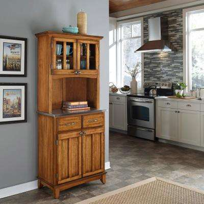 2-Drawer 31.25 in. W Cottage Oak Buffet with Stainless Top and Hutch