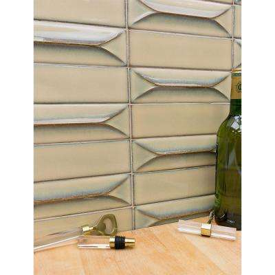 Vintage Khaki 3D 3 in. x 9 in. Polished Ceramic Subway Wall Tile (20 pieces / 3.12 sq. ft. / box)