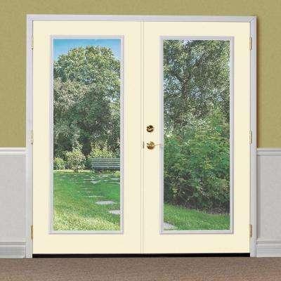72 in. x 80 in. Golden Haystack Steel Prehung Right-Hand Inswing Full Lite Clear Glass Patio Door Brickmold, Vinyl Frame