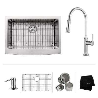 All-in-One Farmhouse Apron Front Stainless Steel 30 in. Single Basin Kitchen Sink with Faucet and Accessories in Chrome