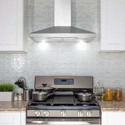 30 in. 217 CFM Convertible Kitchen Wall Mount Range Hood in Stainless Steel with Push Panel, LEDs and Carbon Filters