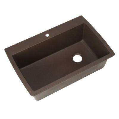 Diamond Dual Mount Granite Composite 33 in. 1-Hole Super Single Bowl Kitchen Sink in Cafe Brown