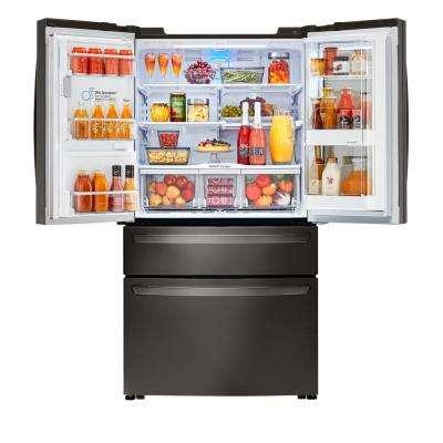 23 cu. ft. 4-Door French Door Smart Refrigerator with InstaView Door-in-Door in Black Stainless Steel, Counter Depth