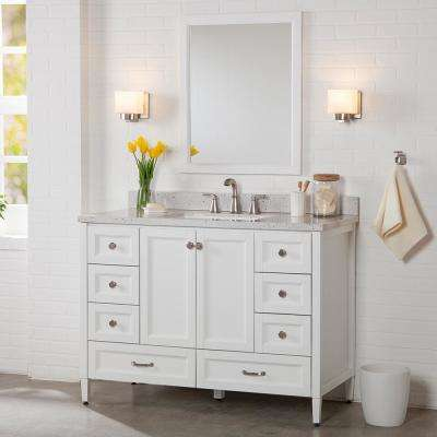 Claxby 49 in. W x 22 in. D Bathroom Vanity in White with Solid Surface Vanity Top in Silver Ash with White Sink