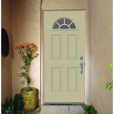 32 in. x 80 in. Fan Lite Desert Sand Painted Steel Prehung Right-Hand Outswing Front Door w/Brickmould