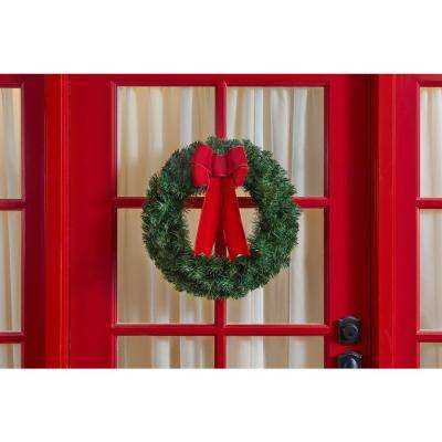 20 in. Unlit Artificial Christmas Wreath with Red Bow (Set of 6)