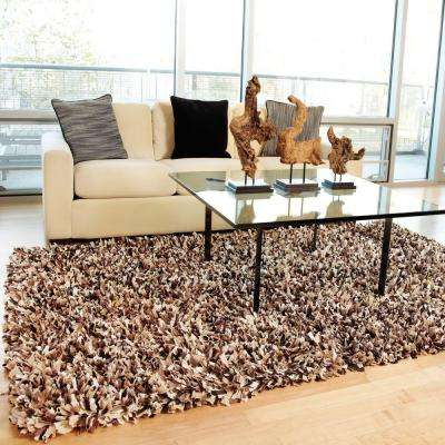 Confetti Brown and White 5 ft. x 8 ft. Shag Area Rug