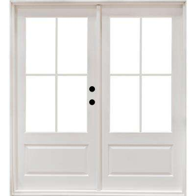 71-1/4 in. x 79-1/2 in. Fiberglass White Left-Hand Outswing Hinged 3/4-Lite Patio Door with 4-Lite Internal Grilles