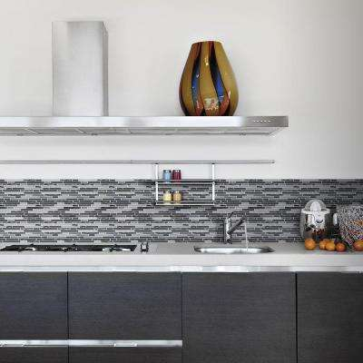 Waves of Grey 12 in. x 12.25 in. x 8 mm Glass/Metal Mosaic Wall Tile