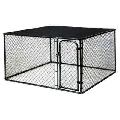 10 ft. x 5 ft. x 6 ft. Black Powder-Coated Chain Link Boxed Kennel Kit