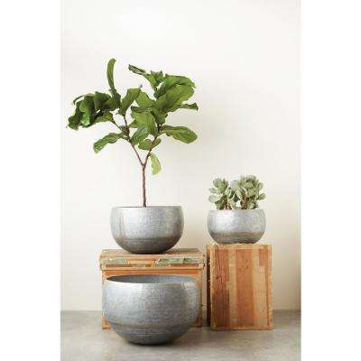 10 in., 12.25 in. and 15 in. High Silver and Gold Galvanized Metal Planters (3-Pack)
