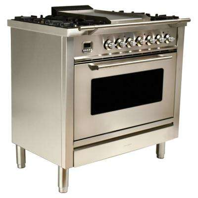 36 in. 3.55 cu. ft. Single Oven Dual Fuel Range with True Convection, 5 Burners, and Griddle in Stainless Steel