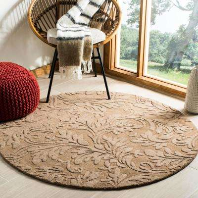 Impressions Light Brown 5 ft. x 5 ft. Round Area Rug