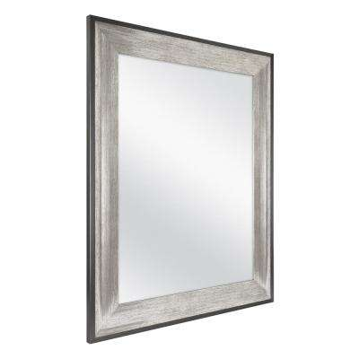 23 in. W x 29 in. L Framed Fog Free Wall Mirror in Two-Tone Pewter