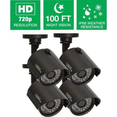 Wired 720p Indoor/Outdoor HD Bullet Camera with 100 ft. Night Vision (4-Pack)