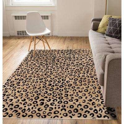Dulcet Leopard Black 5 ft. x 7 ft. Modern Animal Print Area Rug