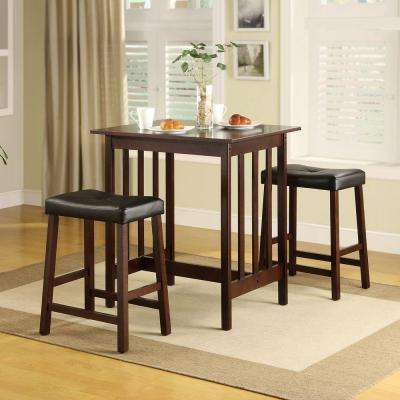 Paige 3-Piece Counter Height Wood Breakfast Set in Espresso