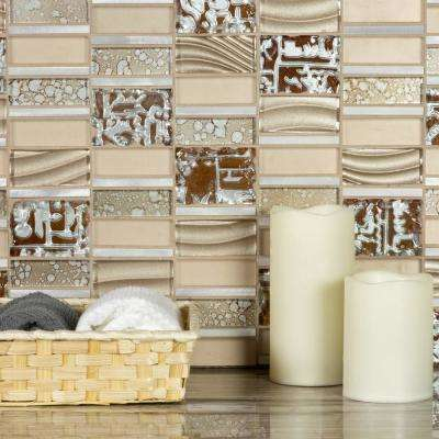 Imperial Golden Expression Deco Mosaic 12 in. x 12 in. Glass Wall Tile (1 Sheet)