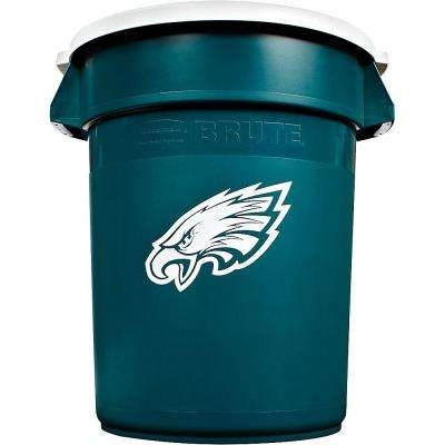 BRUTE NFL 32 Gal. Philadelphia Eagles Round Trash Can with Lid