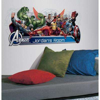 Avengers Assemble Personalization Headboard Peel and Stick 108-Piece Wall Decals
