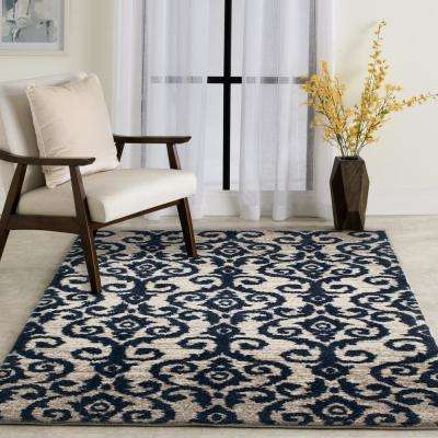 Carinthia Cream/Navy 5 ft. x 7 ft. Abstract Area Rug
