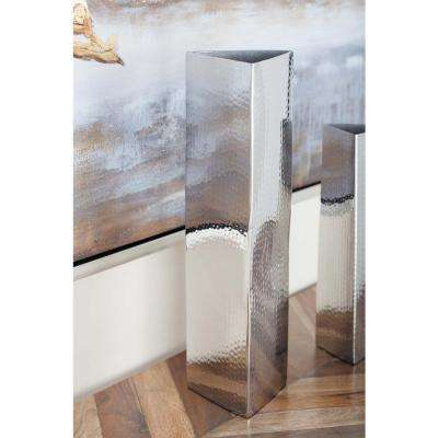 16 in. Triangular-Prism Stainless Steel Decorative Vase in Silver