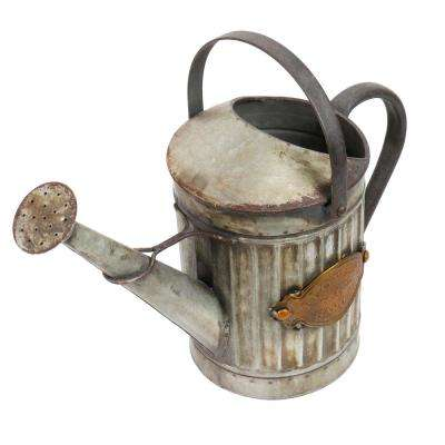 """Alpine Corporation 12"""" Tall Vintage Style Metal Watering Can and Planter with Rustic Finish"""