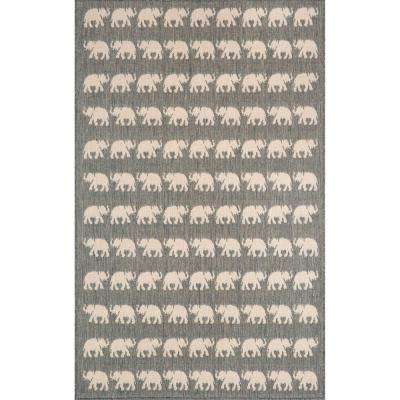 Baxter Jungle Walk Silver 4 ft. 10 in. x 7 ft. 6 in. Indoor/Outdoor Area Rug