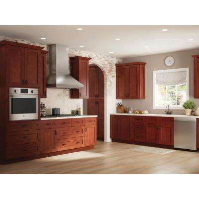 Kingsbridge Assembled 18x84x24 in. Pantry/Utility 2 Single Door and 4 Rollout Trays Kitchen Cabinet in Cabernet