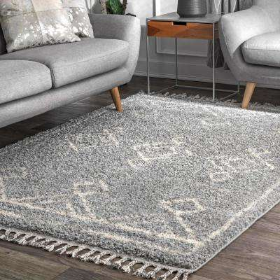 Mackie Moroccan Diamond Shag Gray 5 ft. x 8 ft.  Area Rug
